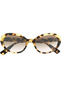 Miu Miu Eyewear Oval Shaped Sunglasses - Marrom