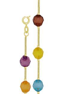 Pulseira Prata Mil Com 7 Balão Acrílico Colorido Dourado