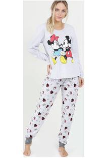 Pijama Feminino Estampa Mickey E Minnie Manga Longa Disney