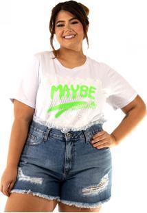 T-Shirt Camellia Plus Size Maxiplus Algodã£O Det Frente - Branco - Feminino - Algodã£O - Dafiti