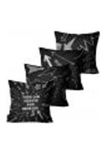 Kit Com 4 Capas Para Almofadas Premium Cetim Mdecore Frase Preta 45X45Cm