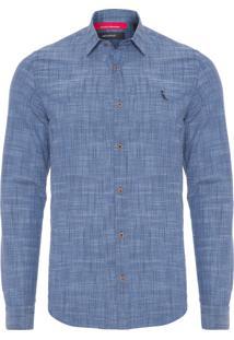 Camisa Masculina Textura - Azul