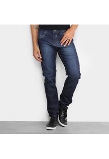 Calça Jeans Skinny Rock Blue Elastano Lavagem Escura Masculina - Masculino-Azul Escuro