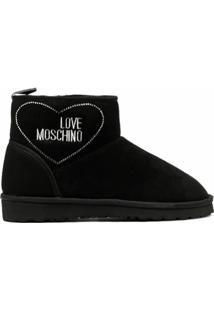 Love Moschino Ankle Boot De Camurça - Preto