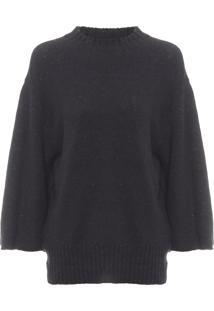 Blusa Feminina Knit Cotton E Fabrics - Preto