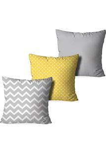 Kit 3 Capas Love Decor Para Almofadas Decorativas Formas Abstratas Multicolorido Cinza