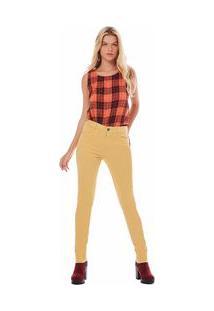 Calça Zinco Skinny Regular Cós Intermediário Tinturada Amarelo - 38