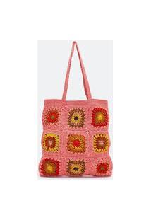 Bolsa Em Tricô Com Flores | Satinato | Rosa | U