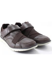 Sapatênis Strikwear Elástico Velcro Masculino - Masculino-Café