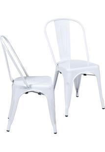 Jogo De Cadeiras De Jantar Retrã´- Branco- 2Pã§S- Or Design