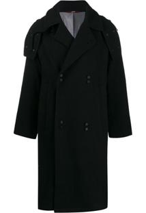 Indice Studio Double-Breasted Trench Coat - Preto