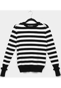 Suéter Tricot Miose Listrado Botões Babado Feminino - Feminino-Preto+Branco