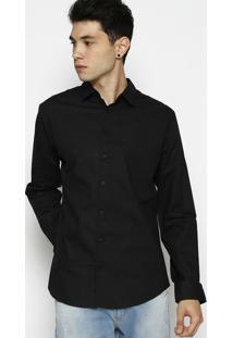 Camisa Slim Fit Arabescos- Preta & Cinza Escuro- Forforum