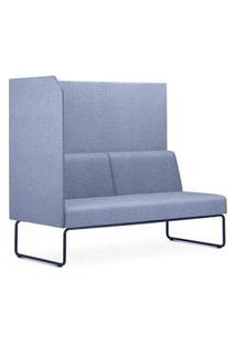 Sofa Privativo Pix Com Lateral Direita Aberta Assento Mescla Azul Base Aco Preto - 54981 Azul