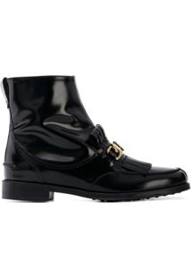 Tod'S Ankle Boot De Couro Com Franjas - Preto