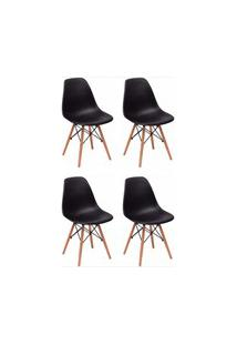 Kit 04 Cadeiras Eiffel Charles Eames F01 Preta Base De Madeira Dsw - M