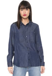 Camisa Jeans Colcci Bolsos Azul