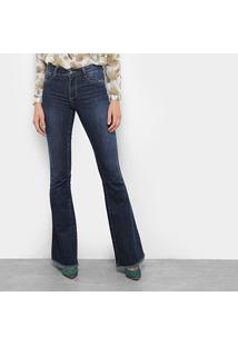 ac951a74cc ... Calça Jeans Sawary Flare Barra Desfiada Feminina - Feminino-Azul