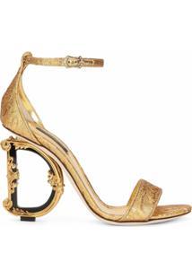 Dolce & Gabbana Sandália Salto Alto Esculpido - Dourado