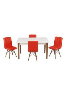 Conjunto Mesa De Jantar Luiza 135Cm Branca Com 4 Cadeiras Gomos - Vermelho