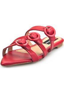 Sandalia Love Shoes Rasteira Bico Folha Três Fivelas Vermelho