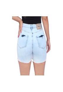 Bermuda Jeans Frozini Feminina Lycra Short Jeans Cintura Alta