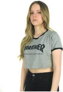 Camiseta Crop Thrasher Magazine Skate Mag Feminina Cinza Multicolorido