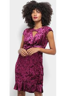 Vestido Pérola Evasê Curto Veludo Decote - Feminino-Vinho