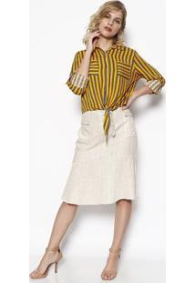 Camisa Listrada Com Amarração - Amarela & Azul - Milmiliore