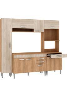 Cozinha Compacta Com Tampo 9 Portas Cc01 Carvalho/Blanche/Bordô - Fellicci