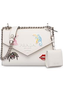 Prada Bolsa Tiracolo Com Placa De Metal - Branco