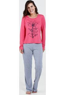 Pijama Feminino Estampa Flor Listrada Marisa