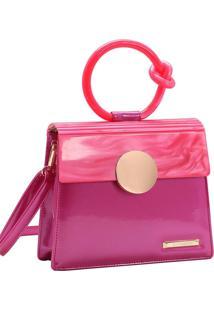 Bolsa Feminina Chenson Glamour Marmorizado De Mão Pink 3483033
