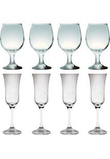 Kit 4 Taças Vinho Tinto 245 Ml E 4 Taças Lírio Champanhe 180Ml Sture Móveis - Kanui