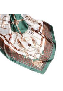 Lenço Seda Estampado Grande Echarpe Xale Marinheiro Feminino - Feminino-Verde