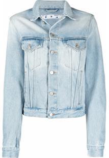 Off-White Jaqueta Jeans Com Estampa De Logo Floral - Azul