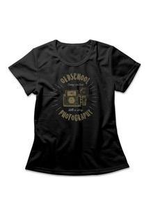 Camiseta Feminina Old School Photography Preto