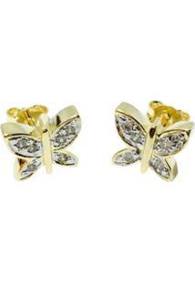 Brinco Kumbayá Borboleta Banho De Ouro 18K Cravejado De Zirconia Incolores Detalhe Em Rodio Feminino - Feminino-Dourado