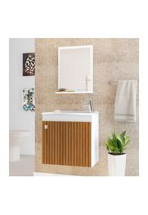 Armário Suspenso Para Banheiro Bechara Siena 1 Porta Branco 3D Ripado