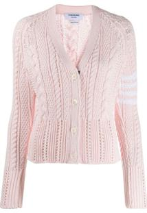 Thom Browne Cardigan '4-Bar Aran Cable' - Rosa