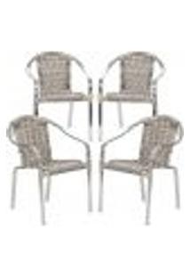 Cadeiras 4Un Para Area Varanda Fibra Sintetica Sala Cozinha Jardim Sacada Pinheiro - Capuccino
