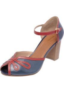 Sandália Miuzzi Peep Toe 3181 Rubi E Azul Marinho