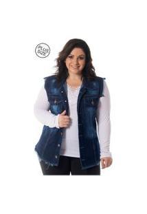 Colete Lavanda E Alecrim Jeans Desfiado Destroyed Plus Size Azul
