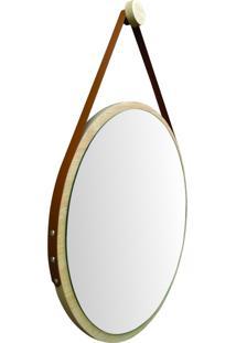 Espelho Redondo Adnet Minimalista Natural Com Alça Caramelo + Pendurador 50Cm