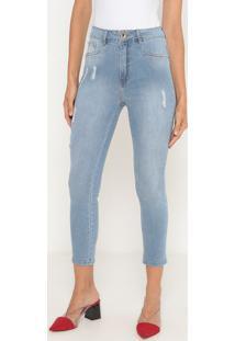 Jeans Super High Ankle Com Puídos- Azul Claro- Lançalança Perfume