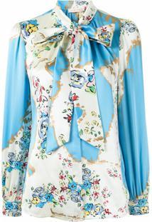 Tory Burch Blusa De Seda Com Laço E Estampa Floral - Branco