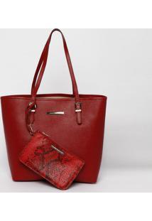 Bolsa Em Couro Com Tag- Vermelha- 30X43X14Cmjorge Bischoff