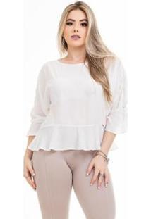 Blusa Clara Arruda Laço Feminina - Feminino-Off White