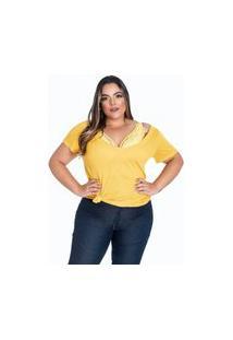 T-Shirt Plus Size Decote Em V