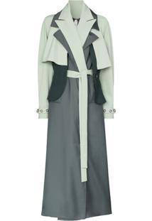 Marta Jakubowski Trench Coat Com Sobreposição - Verde